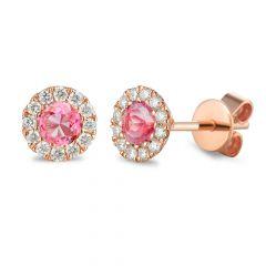Tourmaline & Diamond 18CT Rose-Gold October Birthstone Stud Earrings