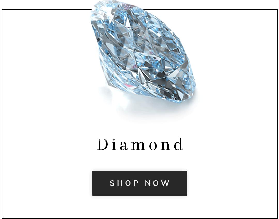 A diamond gemstone with text diamonds shop now