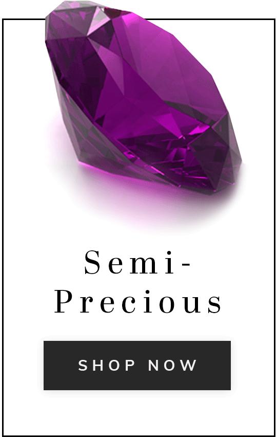 A purple gemstone with text semi-precious shop now