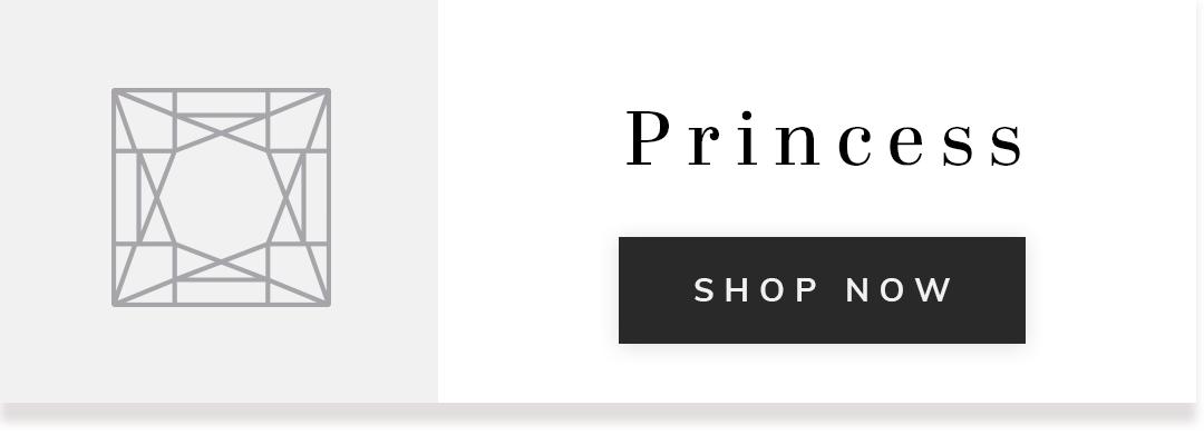 Stencil image of a princess cut diamond with text princess shop now
