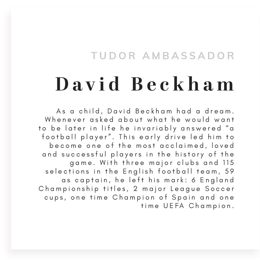 Text that reads tudor ambassador david beckham