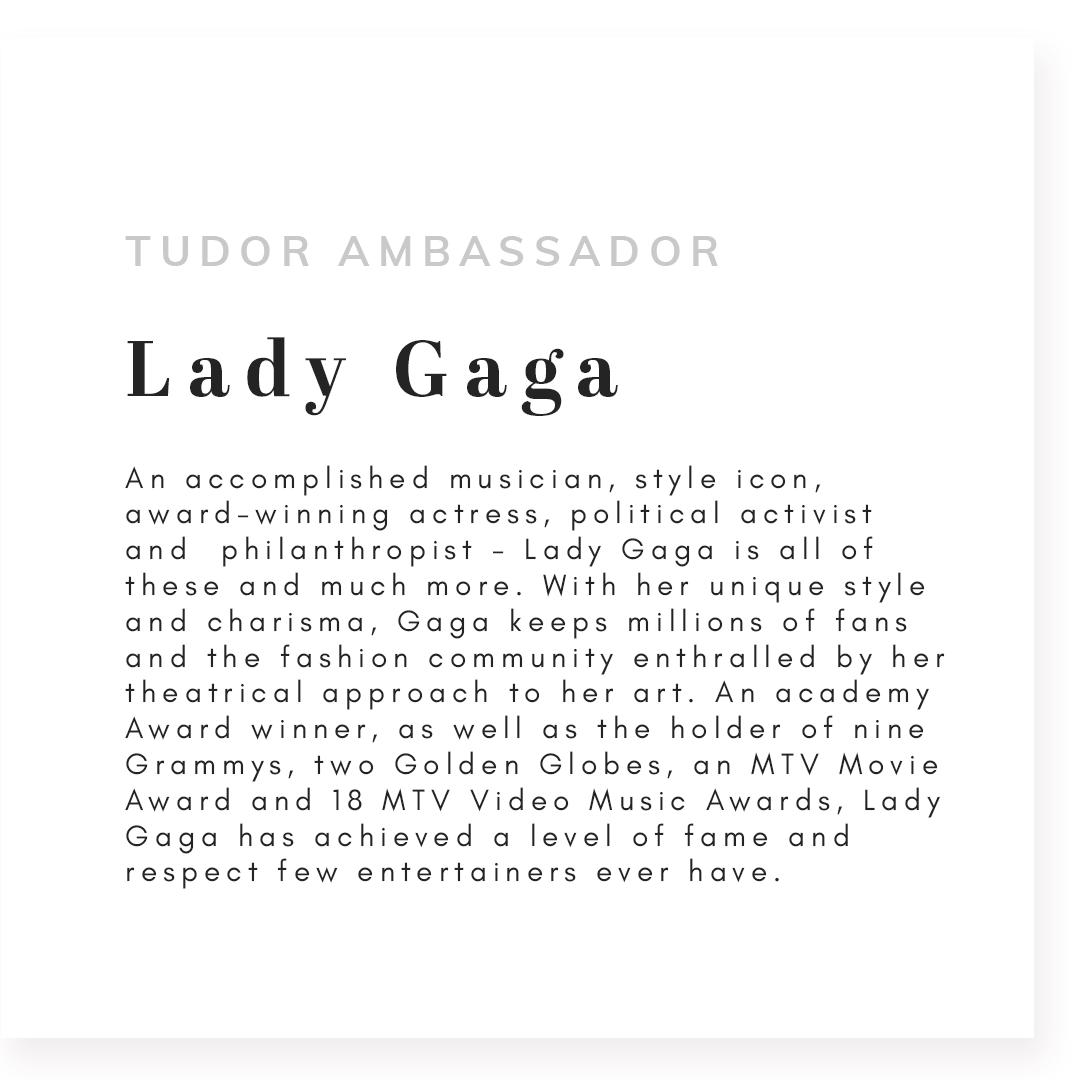 Text that reads tudor ambassador lady gaga
