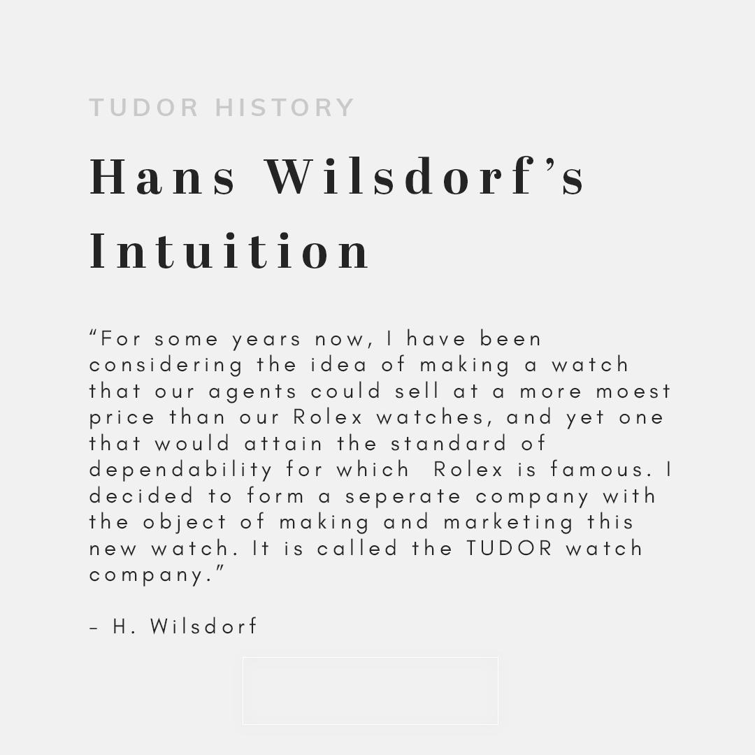 Text that reads Hans Wilsdorf's Intuition