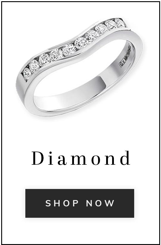 A diamond wedding ring with text diamond shop now