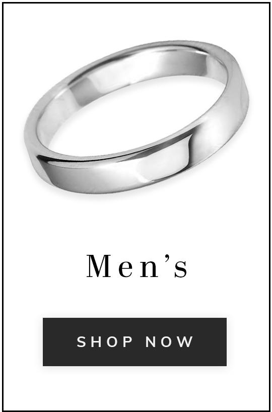 A plain platinum wedding ring with text men's shop now