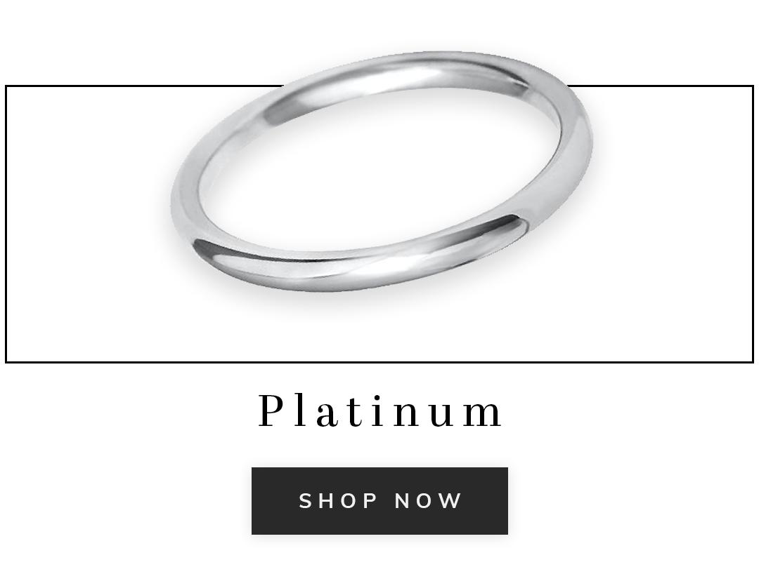 A platinum wedding ring with text platinum shop now
